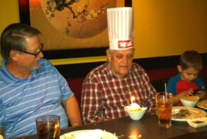 Celebrating Bob's father's  90th birthday at Kobe.