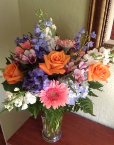 My indoor view - flowers from my son, Jesse.  Thanks for encouraging me to blog, Jesse.